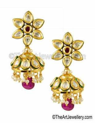 Ruby Red Vilandi Kundan Jhumki Earrings Jewellery for Women - Orniza