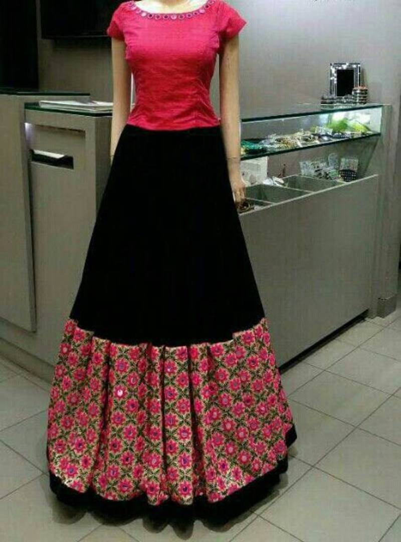 Buy Black Embroidered Art Silk Unstitched Lehenga With