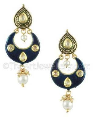 Navy Blue Jadau Kundan Dangle and Drop Earrings Jewellery for Women - Orniza