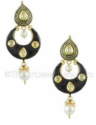 Black Jadau Kundan Dangle and Drop Earrings Jewellery for Women - Orniza