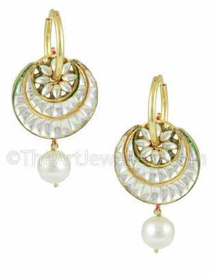 Pearl White Jadau Kundan Dangle and Drop Earrings Jewellery for Women - Orniza