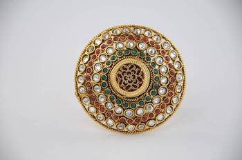 Adjustable Polki ring with Kundan and Maroon, Green and White stones.