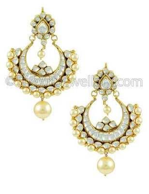 Golden Jadau Kundan Dangle and Drop Earrings Jewellery for Women - Orniza