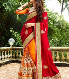 Buy Red embroidered faux georgette saree with blouse women-ethnic-wear online