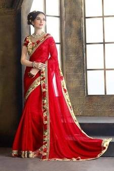 6725c05791a886 Progress 4cc28d84d76fcb9210fe43f7ac15eb975cd0845b972ae4a79b1d0ad72de0bd8e.  Red embroidered faux georgette saree with blouse