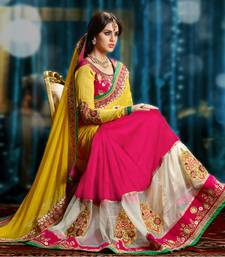 Buy Yellow embroidered faux georgette saree with blouse women-ethnic-wear online
