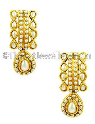 Pearl White Traditional Rajwadi Drop Earrings Jewellery for Women - Orniza