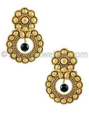 Black Traditional Rajwadi Dangle Earrings Jewellery for Women - Orniza