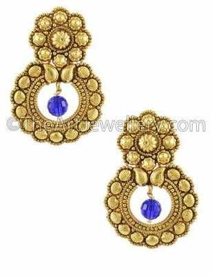 Royal Blue Traditional Rajwadi Dangle Earrings Jewellery for Women - Orniza