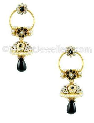 Black Traditional Rajwadi Jhumki Earrings Jewellery for Women - Orniza