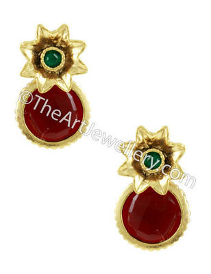 Red Green Traditional Rajwadi Drop Earrings Jewellery for Women - Orniza