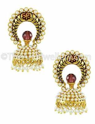 Red Traditional Rajwadi Jhumki Earrings Jewellery for Women - Orniza