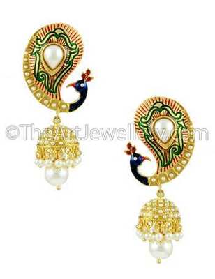 Peacock Pearl White Traditional Rajwadi Jhumki Earrings Jewellery for Women - Orniza