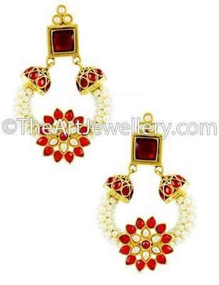 Red Polki Stones Dangle Earrings Jewellery for Women - Orniza