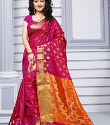 Buy Dark pink woven silk saree with blouse diwali-sarees-collection online