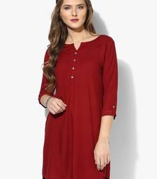 Buy Navy blue plain rayon stitched short-kurtis short-kurtis online
