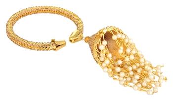 Gold tone Free Size kada with danglings