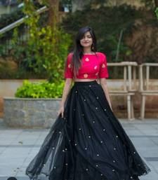 Buy Black embroidered net unstitched lehenga with dupatta black-friday-deal-sale online