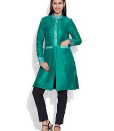 Buy Teal dupion silk plain ethnic jackets ethnic-jacket online