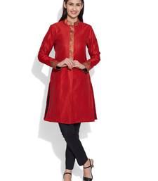 Red dupion silk plain ethnic jackets