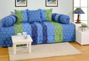 Blue and Green Colour Stripes and Floral Diwan Set with Bolster and Cushion Covers