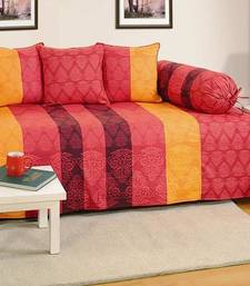 Red and Maroon Colour Stripes and Floral Diwan Set with Bolster and Cushion Covers