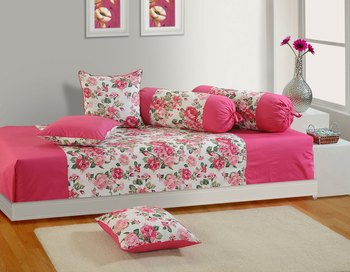 Pink and Magenta Colour Floral Diwan Set with Bolster and Cushion Covers
