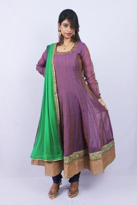 Mauve Green Chanderi Silk Kundan Work Anarkali
