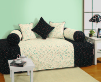 Black and White Colour Floral Diwan Set with Bolster and Cushion Covers