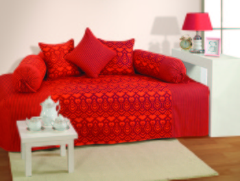 Orange and Magenta Colour Ethnic Diwan Set with Bolster and Cushion Covers