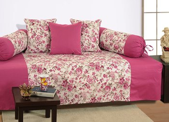 Magenta and Off White Colour Floral Diwan Set with Bolster and Cushion Covers