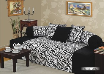 Black and White Colour Zebra Pattern Diwan Set with Bolster and Cushion Covers