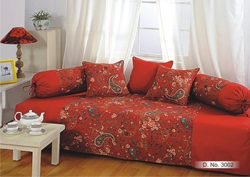 Wine and Yellow Colour Floral Diwan Set with Bolster and Cushion Covers