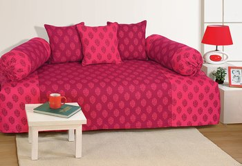 Pink and Magenta Colour Ethnic Diwan Set with Bolster and Cushion Covers