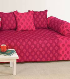 Buy Pink and Magenta Colour Ethnic Diwan Set with Bolster and Cushion Covers diwan-set online