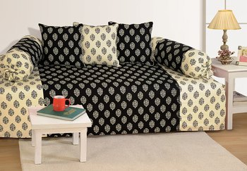 Black and Off White Colour Ethnic Diwan Set with Bolster and Cushion Covers