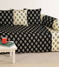 Buy Black and Off White Colour Ethnic Diwan Set with Bolster and Cushion Covers other-home-furnishing online