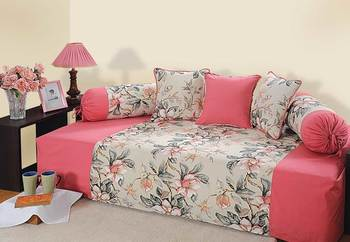 Pink and Peach Colour Floral Diwan Set with Bolster and Cushion Covers