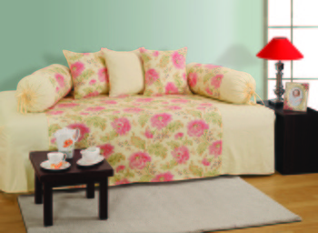 Cream and Pink Colour Floral Diwan Set with Bolster and Cushion Covers