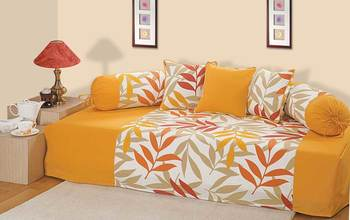Yellow and Green Colour Leaf Pattern Diwan Set with Bolster and Cushion Covers