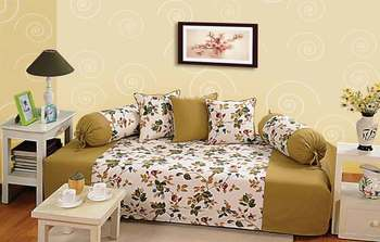 Sea Green and Off White Colour Floral Diwan Set with Bolster and Cushion Covers