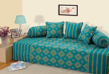 Turquoise and Gold Colour Ethnic Diwan Set with Bolster and Cushion Covers
