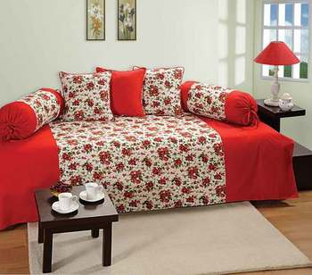 Red and White Colour Floral Diwan Set with Bolster and Cushion Covers