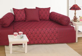 Wine and Black Colour Ethnic Diwan Set with Bolster and Cushion Covers
