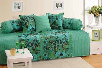 Green and Sea Green Colour Floral Diwan Set with Bolster and Cushion Covers