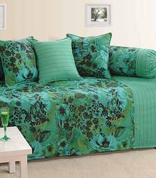 Buy Green and Sea Green Colour Floral Diwan Set with Bolster and Cushion Covers diwan-set online