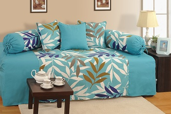 Turquoise and Blue Colour Leaf Pattern Diwan Set with Bolster and Cushion Covers