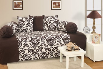 Brown and Off White Colour Floral Diwan Set with Bolster and Cushion Covers