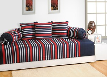 Navy Blue and Red Colour Stripes Diwan Set with Bolster and Cushion Covers