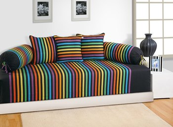 Blue and Yellow Colour Stripes Diwan Set with Bolster and Cushion Covers